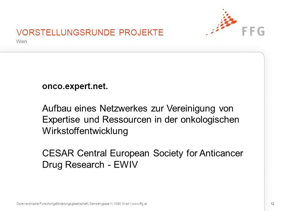 VORSTELLUNGSRUNDE PROJEKTE Österreichische Forschungsförderungsgesellschaft | Sensengasse 1 | 1090 Wien | www.ffg.at12 onco.expert.net. Aufbau eines N