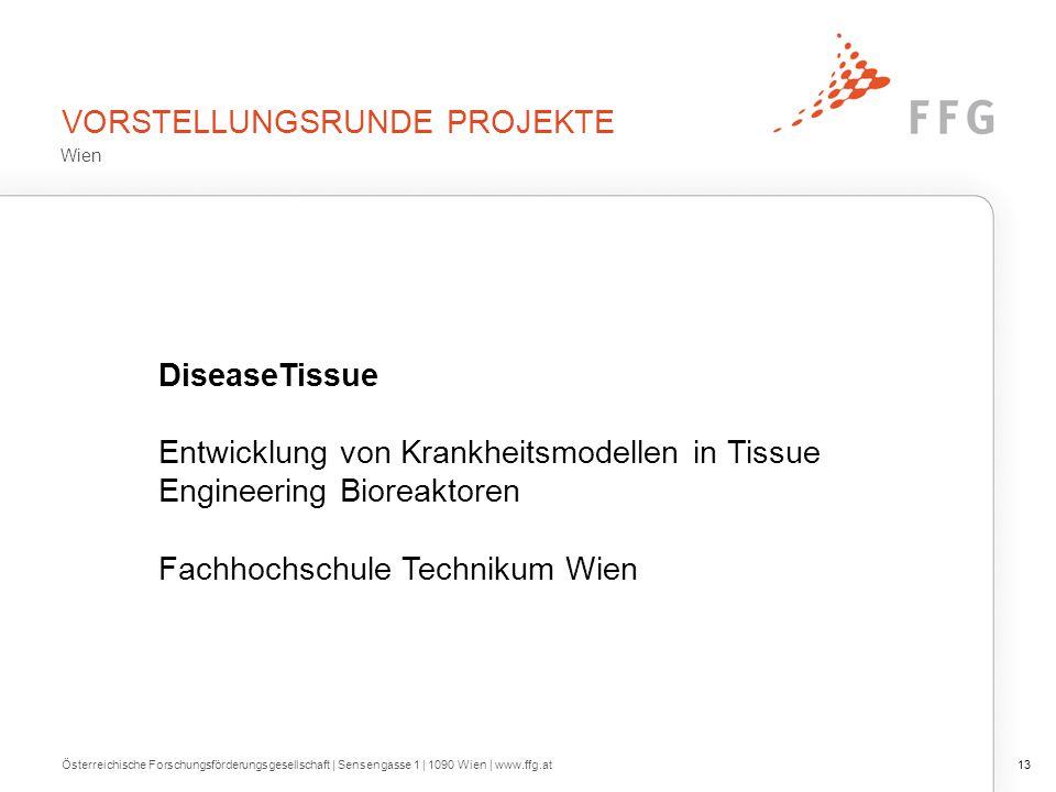 VORSTELLUNGSRUNDE PROJEKTE Österreichische Forschungsförderungsgesellschaft | Sensengasse 1 | 1090 Wien | www.ffg.at13 DiseaseTissue Entwicklung von K
