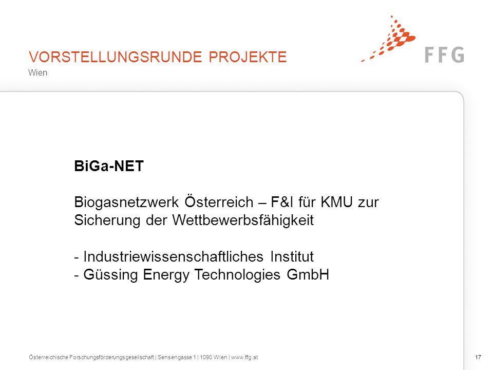 VORSTELLUNGSRUNDE PROJEKTE Österreichische Forschungsförderungsgesellschaft | Sensengasse 1 | 1090 Wien | www.ffg.at17 BiGa-NET Biogasnetzwerk Österre