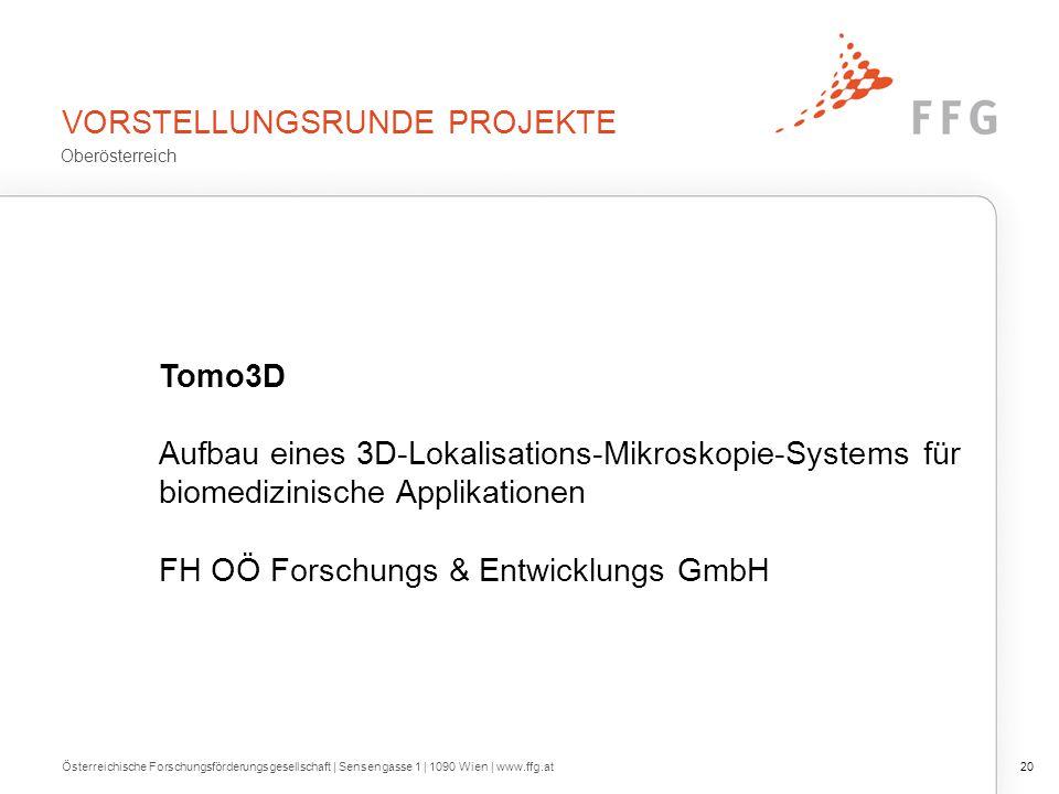 VORSTELLUNGSRUNDE PROJEKTE Österreichische Forschungsförderungsgesellschaft | Sensengasse 1 | 1090 Wien | www.ffg.at20 Tomo3D Aufbau eines 3D-Lokalisa