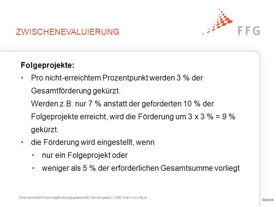 Seite 44 Folgeprojekte: Pro nicht-erreichtem Prozentpunkt werden 3 % der Gesamtförderung gekürzt. Werden z.B. nur 7 % anstatt der geforderten 10 % der