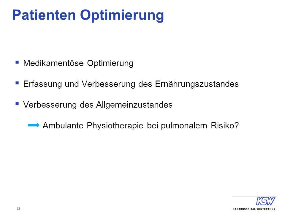 22 Patienten Optimierung  Medikamentöse Optimierung  Erfassung und Verbesserung des Ernährungszustandes  Verbesserung des Allgemeinzustandes Ambula