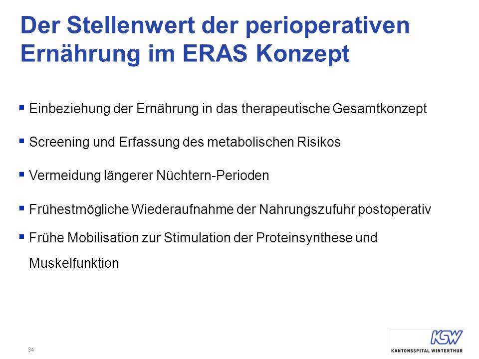 34 Der Stellenwert der perioperativen Ernährung im ERAS Konzept  Einbeziehung der Ernährung in das therapeutische Gesamtkonzept  Screening und Erfas