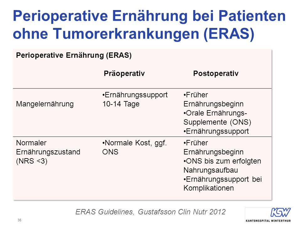 35 Perioperative Ernährung bei Patienten ohne Tumorerkrankungen (ERAS) ERAS Guidelines, Gustafsson Clin Nutr 2012
