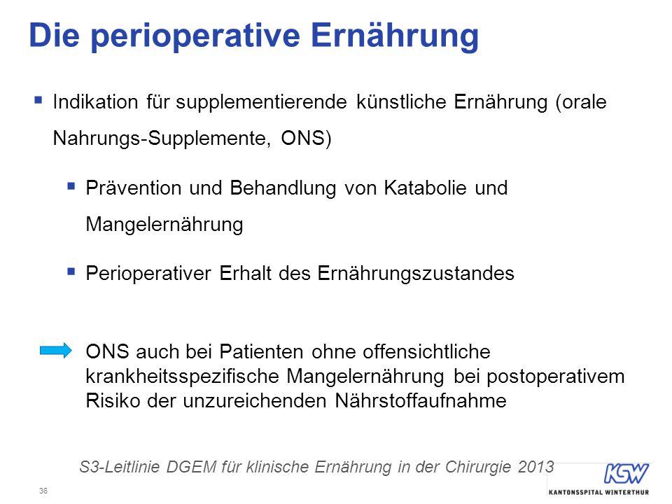 36 Die perioperative Ernährung  Indikation für supplementierende künstliche Ernährung (orale Nahrungs-Supplemente, ONS)  Prävention und Behandlung v