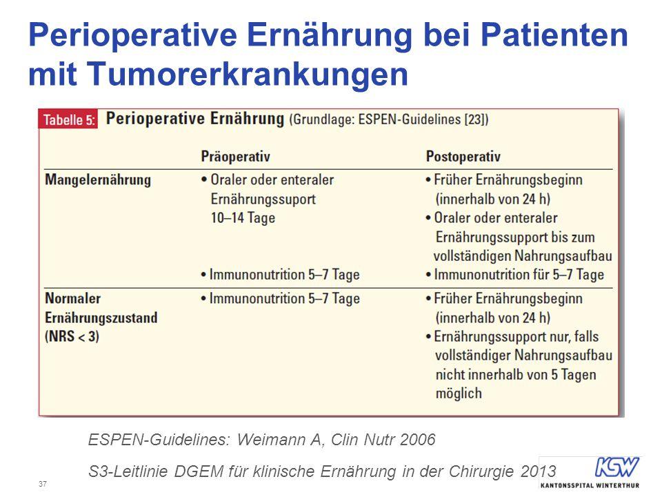 37 Perioperative Ernährung bei Patienten mit Tumorerkrankungen ESPEN-Guidelines: Weimann A, Clin Nutr 2006 S3-Leitlinie DGEM für klinische Ernährung i