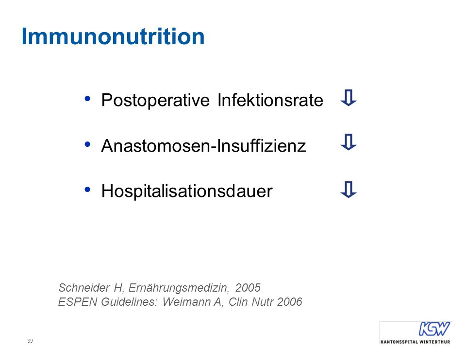 39 Postoperative Infektionsrate Anastomosen-Insuffizienz Hospitalisationsdauer Schneider H, Ernährungsmedizin, 2005 ESPEN Guidelines: Weimann A, Clin