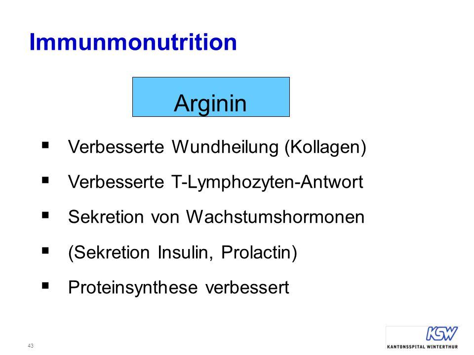 43  Verbesserte Wundheilung (Kollagen)  Verbesserte T-Lymphozyten-Antwort  Sekretion von Wachstumshormonen  (Sekretion Insulin, Prolactin)  Prote