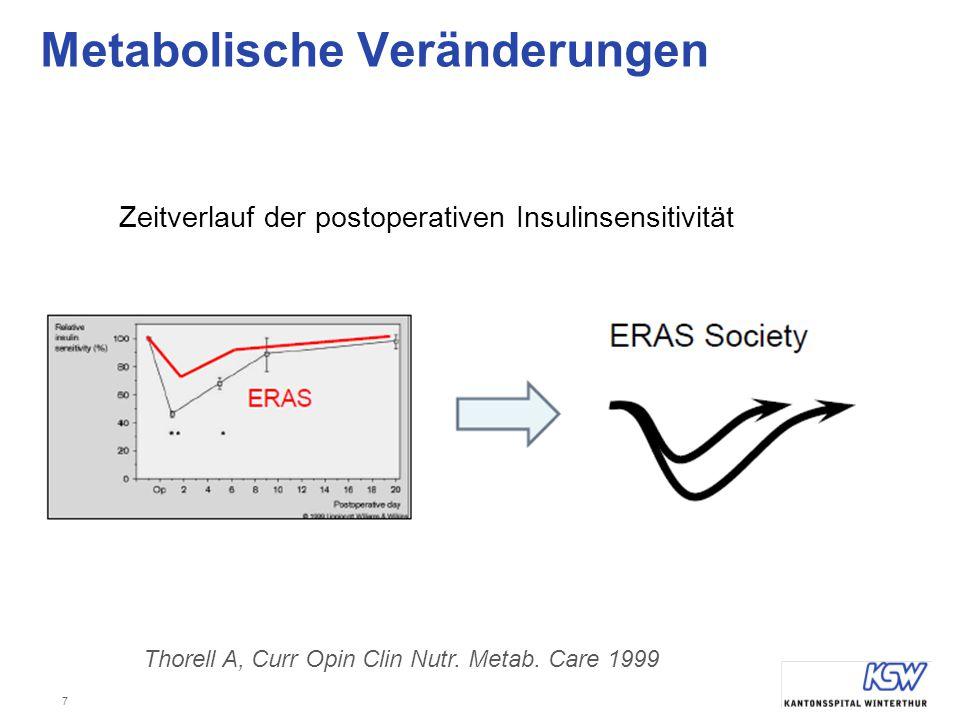 7 Metabolische Veränderungen Thorell A, Curr Opin Clin Nutr. Metab. Care 1999 Zeitverlauf der postoperativen Insulinsensitivität