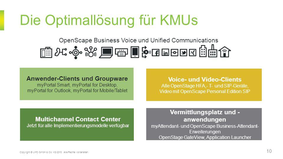Die Optimallösung für KMUs 10 Copyright © Unify GmbH & Co. KG 2013. Alle Rechte vorbehalten. OpenScape Business Voice und Unified Communications Anwen