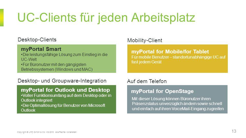 UC-Clients für jeden Arbeitsplatz 13 Copyright © Unify GmbH & Co. KG 2013. Alle Rechte vorbehalten. myPortal Smart Die leistungsfähige Lösung zum Eins