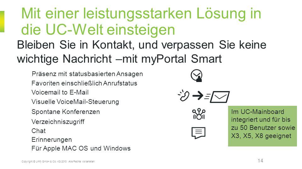 Mit einer leistungsstarken Lösung in die UC-Welt einsteigen 14 Copyright © Unify GmbH & Co. KG 2013. Alle Rechte vorbehalten. Bleiben Sie in Kontakt,