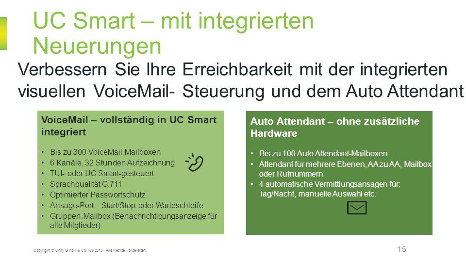 UC Smart – mit integrierten Neuerungen 15 Copyright © Unify GmbH & Co. KG 2013. Alle Rechte vorbehalten. Verbessern Sie Ihre Erreichbarkeit mit der in
