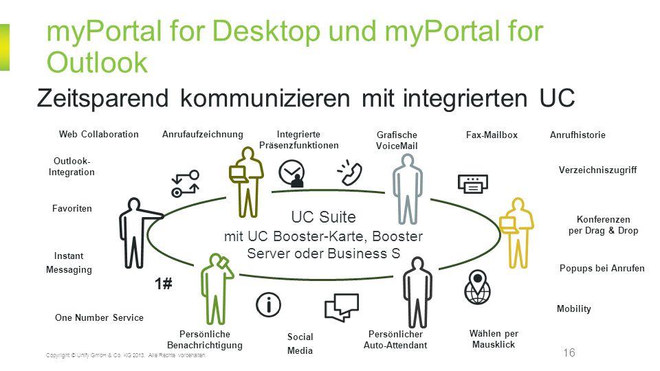 myPortal for Desktop und myPortal for Outlook 16 Zeitsparend kommunizieren mit integrierten UC Copyright © Unify GmbH & Co. KG 2013. Alle Rechte vorbe