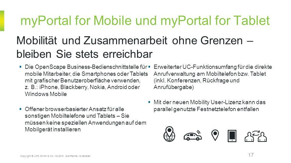 myPortal for Mobile und myPortal for Tablet 17 Mobilität und Zusammenarbeit ohne Grenzen – bleiben Sie stets erreichbar Copyright © Unify GmbH & Co. K