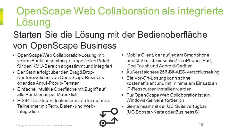 OpenScape Web Collaboration als integrierte Lösung 18 Starten Sie die Lösung mit der Bedienoberfläche von OpenScape Business Copyright © Unify GmbH &