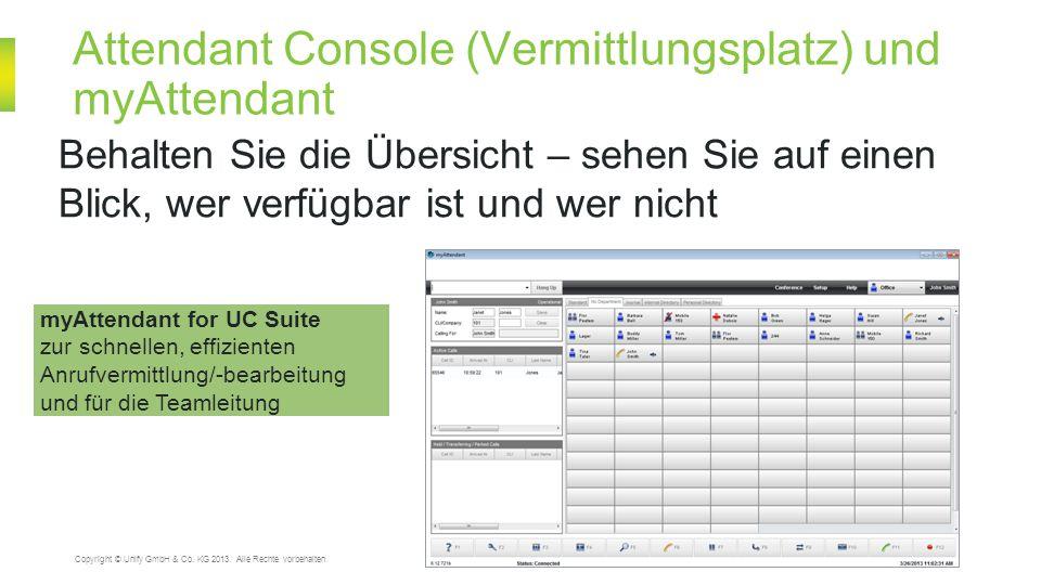 Attendant Console (Vermittlungsplatz) und myAttendant 20 Copyright © Unify GmbH & Co. KG 2013. Alle Rechte vorbehalten. Behalten Sie die Übersicht – s