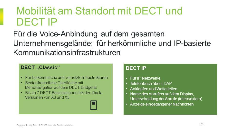 Mobilität am Standort mit DECT und DECT IP 21 Copyright © Unify GmbH & Co. KG 2013. Alle Rechte vorbehalten. Für die Voice-Anbindung auf dem gesamten