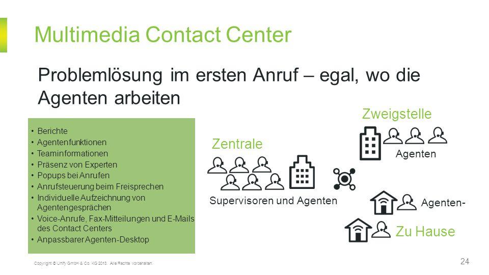 Multimedia Contact Center 24 Copyright © Unify GmbH & Co. KG 2013. Alle Rechte vorbehalten. Problemlösung im ersten Anruf – egal, wo die Agenten arbei