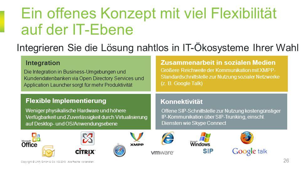 Ein offenes Konzept mit viel Flexibilität auf der IT-Ebene 26 Copyright © Unify GmbH & Co. KG 2013. Alle Rechte vorbehalten. Integration Die Integrati