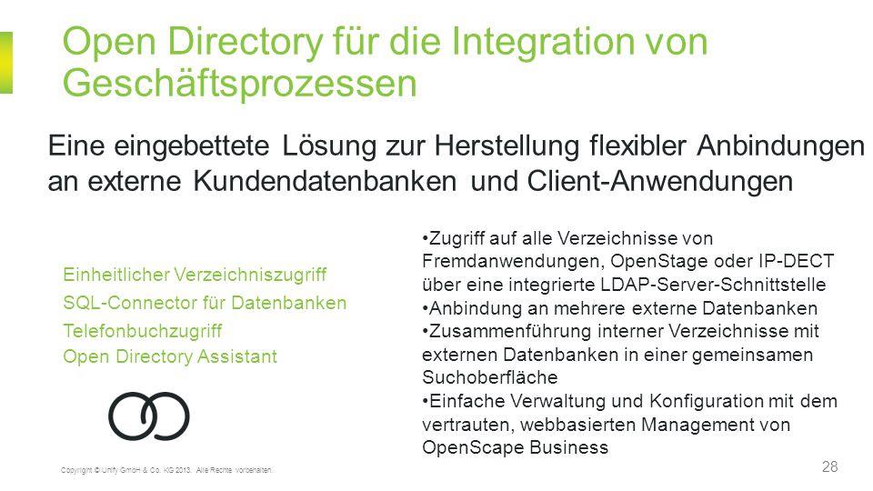 28 Copyright © Unify GmbH & Co. KG 2013. Alle Rechte vorbehalten. Open Directory für die Integration von Geschäftsprozessen Eine eingebettete Lösung z