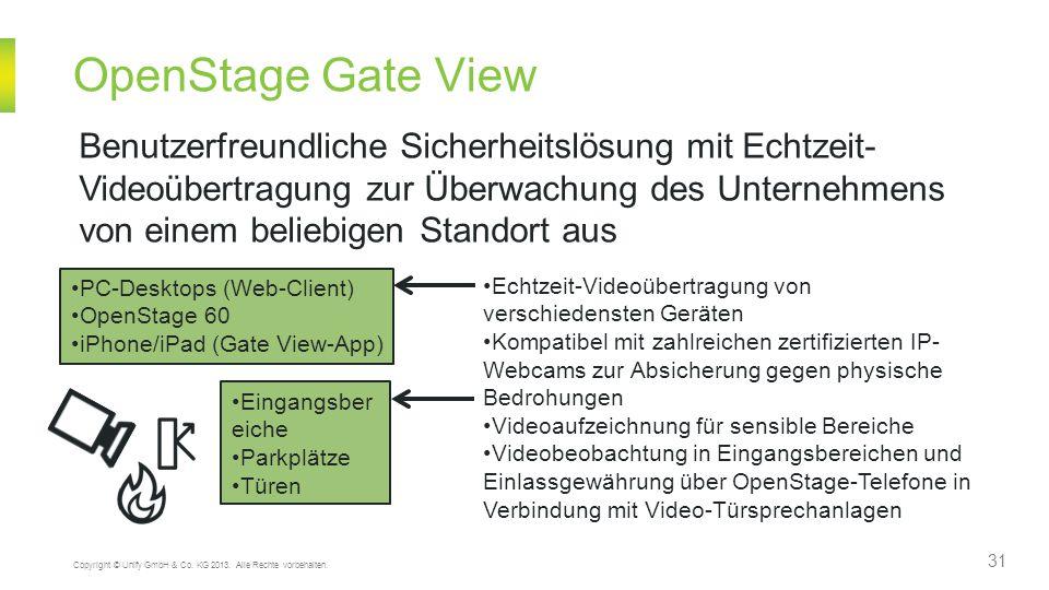31 Copyright © Unify GmbH & Co. KG 2013. Alle Rechte vorbehalten. OpenStage Gate View Benutzerfreundliche Sicherheitslösung mit Echtzeit- Videoübertra