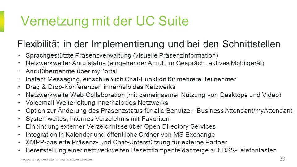 Vernetzung mit der UC Suite 33 Copyright © Unify GmbH & Co. KG 2013. Alle Rechte vorbehalten. Flexibilität in der Implementierung und bei den Schnitts