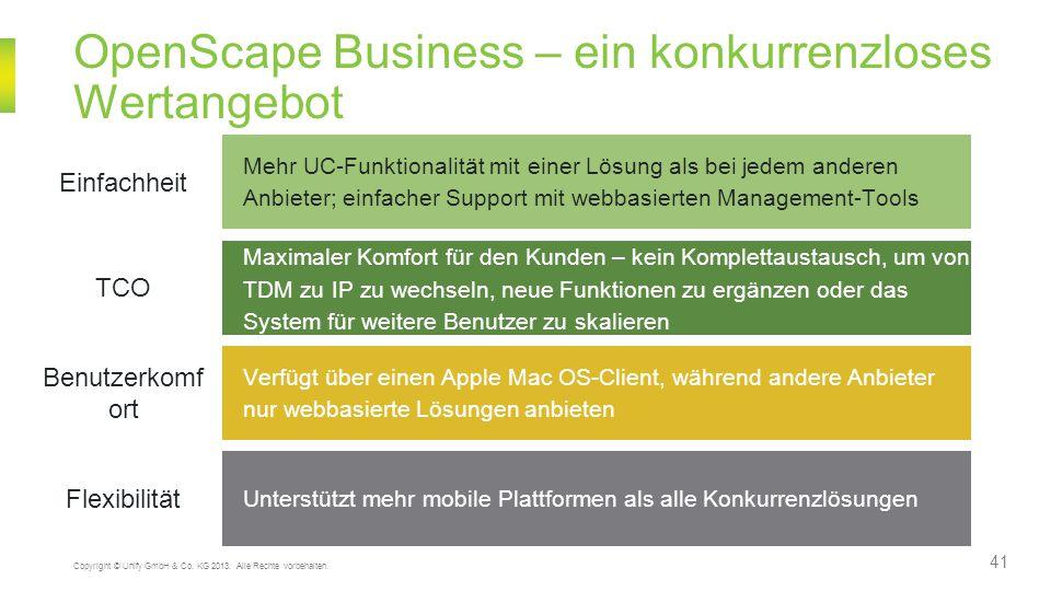 OpenScape Business – ein konkurrenzloses Wertangebot 41 Copyright © Unify GmbH & Co. KG 2013. Alle Rechte vorbehalten. Mehr UC-Funktionalität mit eine
