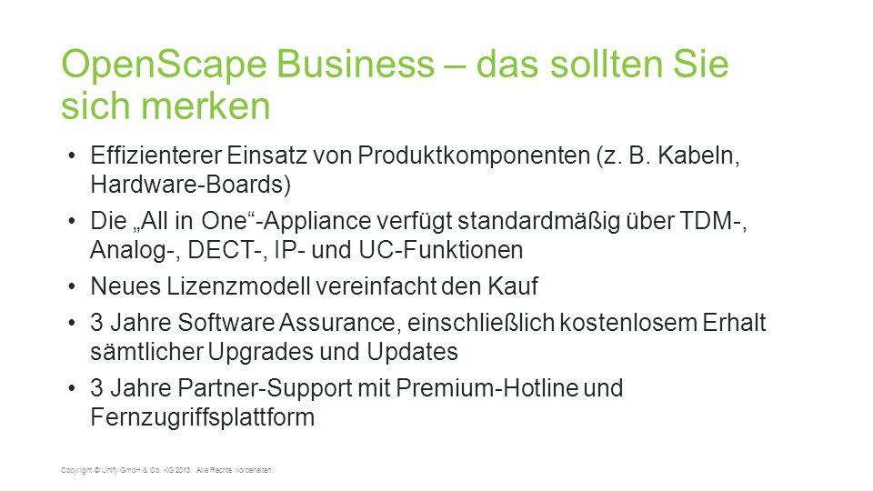 OpenScape Business – das sollten Sie sich merken 42 Copyright © Unify GmbH & Co. KG 2013. Alle Rechte vorbehalten. Effizienterer Einsatz von Produktko