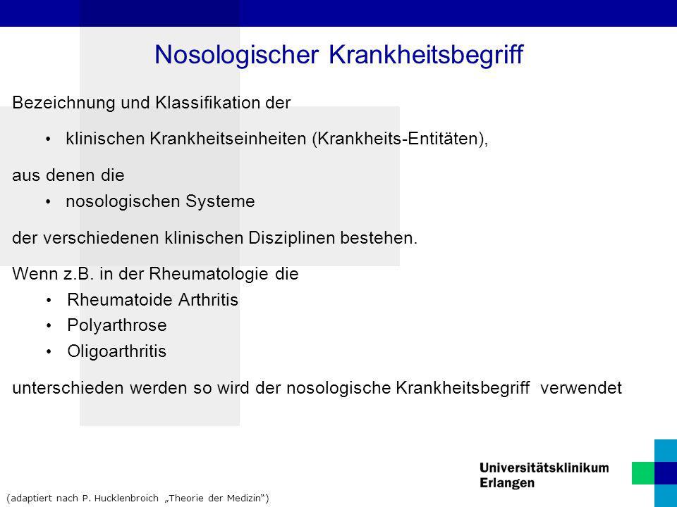 Bezeichnung und Klassifikation der klinischen Krankheitseinheiten (Krankheits-Entitäten), aus denen die nosologischen Systeme der verschiedenen klinis