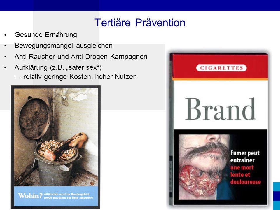 """Gesunde Ernährung Bewegungsmangel ausgleichen Anti-Raucher und Anti-Drogen Kampagnen Aufklärung (z.B. """"safer sex"""")  relativ geringe Kosten, hoher Nut"""
