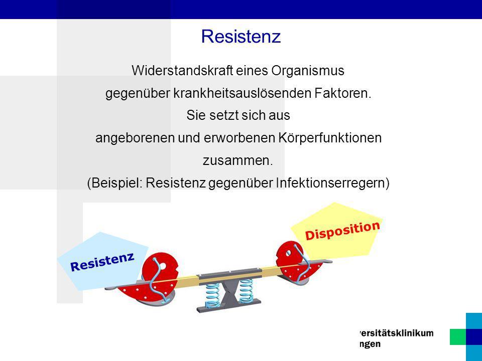 Resistenz Widerstandskraft eines Organismus gegenüber krankheitsauslösenden Faktoren. Sie setzt sich aus angeborenen und erworbenen Körperfunktionen z