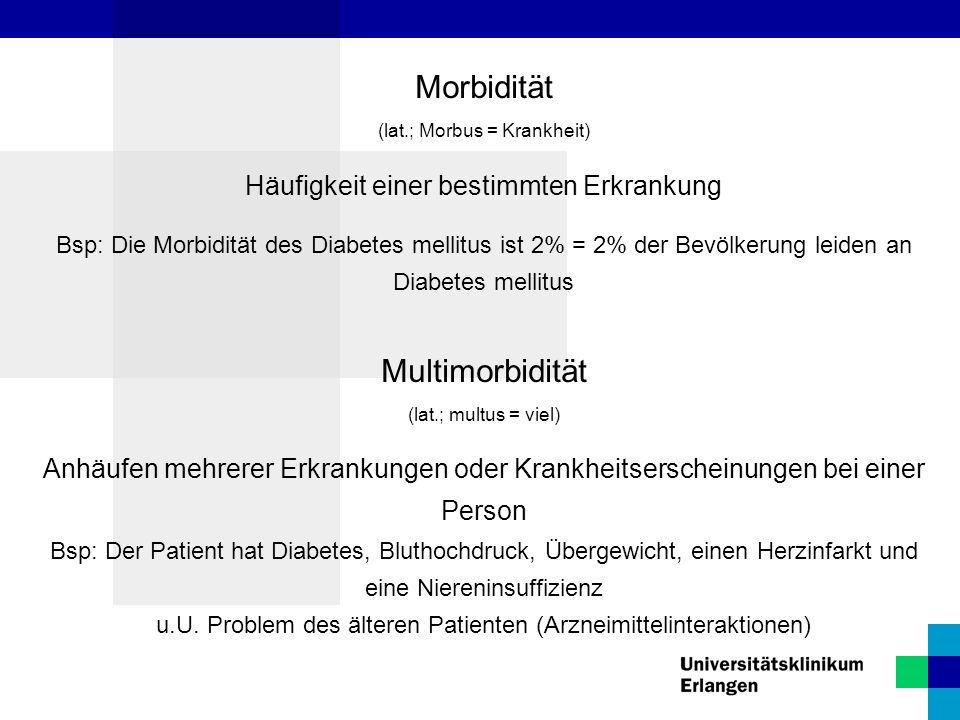 Morbidität (lat.; Morbus = Krankheit) Häufigkeit einer bestimmten Erkrankung Bsp: Die Morbidität des Diabetes mellitus ist 2% = 2% der Bevölkerung lei