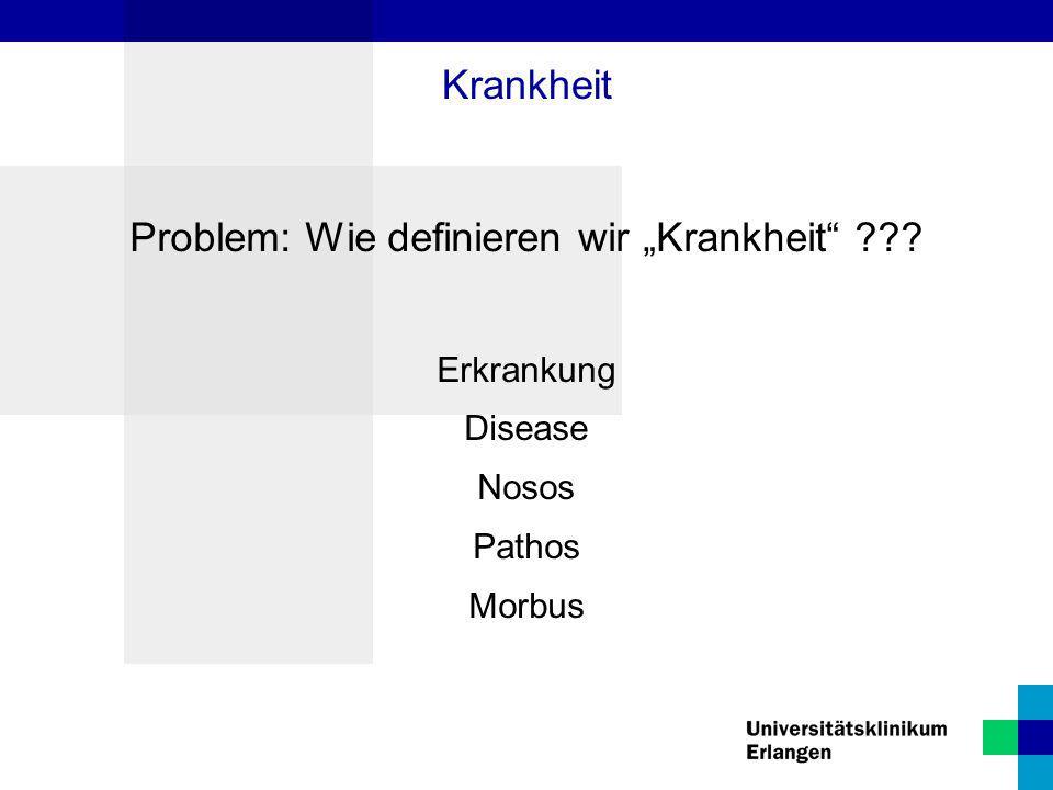 """Problem: Wie definieren wir """"Krankheit"""" ??? Erkrankung Disease Nosos Pathos Morbus Krankheit"""
