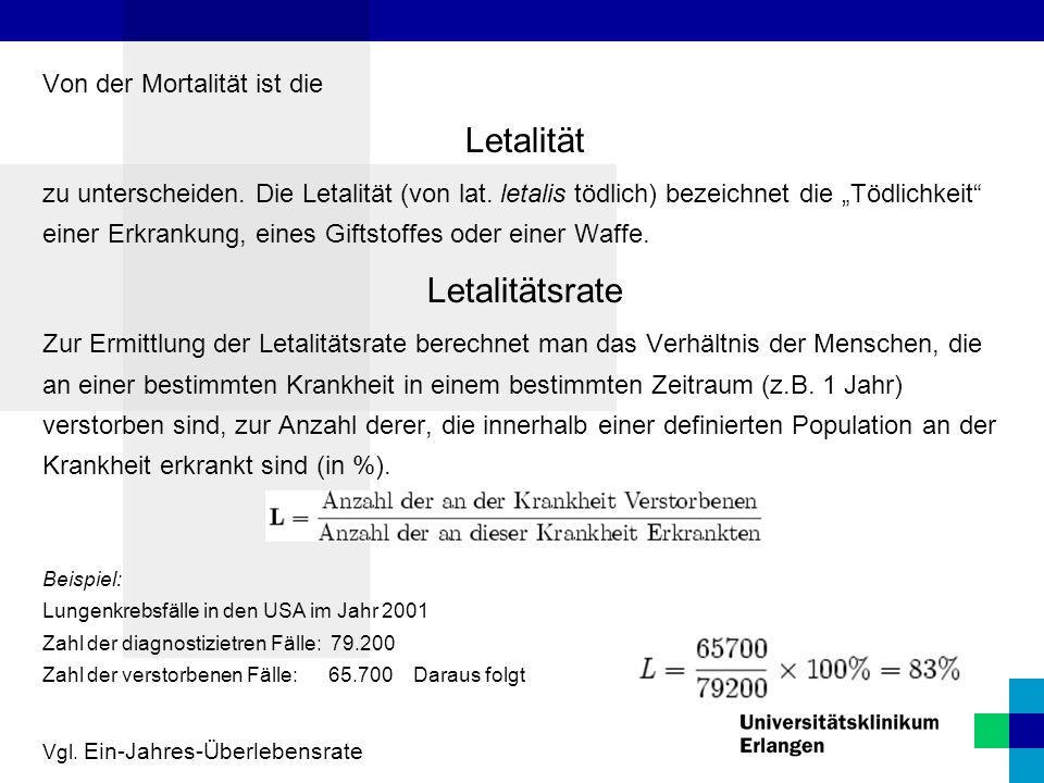 """Von der Mortalität ist die Letalität zu unterscheiden. Die Letalität (von lat. letalis tödlich) bezeichnet die """"Tödlichkeit"""" einer Erkrankung, eines G"""