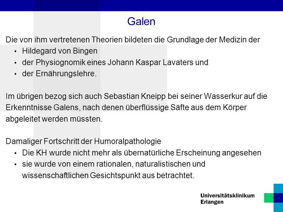 Die von ihm vertretenen Theorien bildeten die Grundlage der Medizin der Hildegard von Bingen der Physiognomik eines Johann Kaspar Lavaters und der Ern