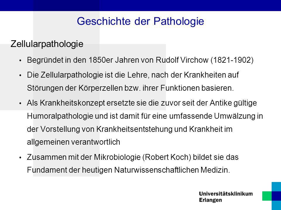 Zellularpathologie Begründet in den 1850er Jahren von Rudolf Virchow (1821-1902) Die Zellularpathologie ist die Lehre, nach der Krankheiten auf Störun