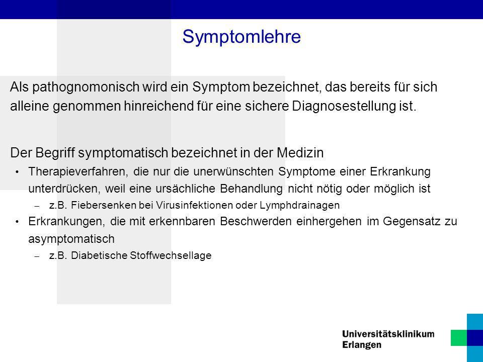 Als pathognomonisch wird ein Symptom bezeichnet, das bereits für sich alleine genommen hinreichend für eine sichere Diagnosestellung ist. Der Begriff