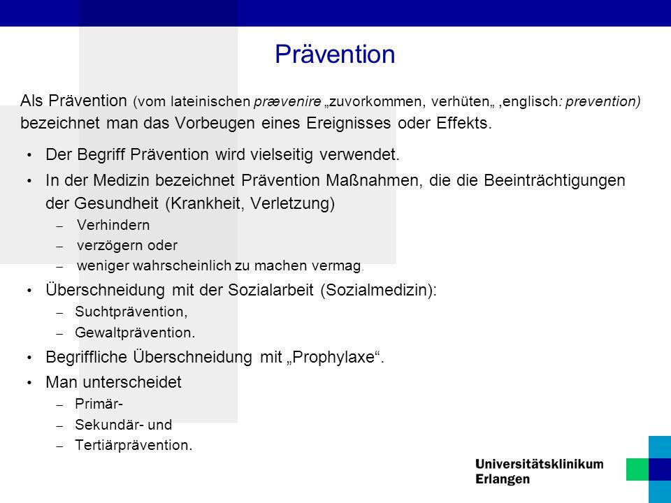 """Als Prävention (vom lateinischen prævenire """"zuvorkommen, verhüten"""",englisch: prevention) bezeichnet man das Vorbeugen eines Ereignisses oder Effekts."""