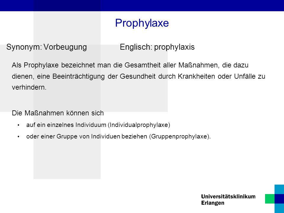 Synonym: Vorbeugung Englisch: prophylaxis Als Prophylaxe bezeichnet man die Gesamtheit aller Maßnahmen, die dazu dienen, eine Beeinträchtigung der Ges