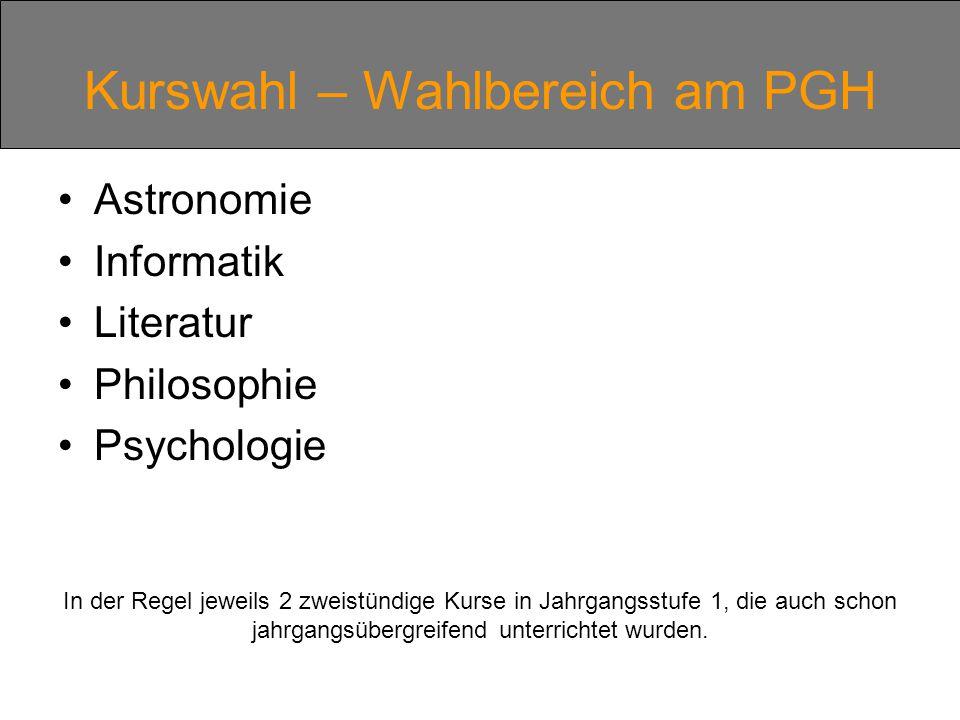 Kurswahl – Wahlbereich am PGH Astronomie Informatik Literatur Philosophie Psychologie In der Regel jeweils 2 zweistündige Kurse in Jahrgangsstufe 1, die auch schon jahrgangsübergreifend unterrichtet wurden.