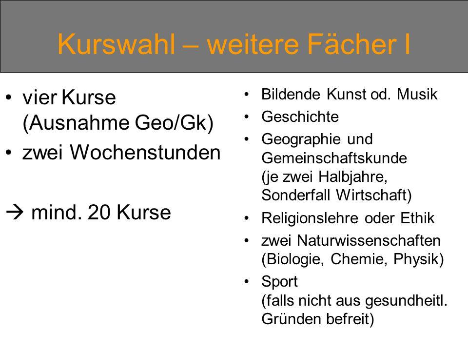 Kurswahl – weitere Fächer I vier Kurse (Ausnahme Geo/Gk) zwei Wochenstunden  mind.