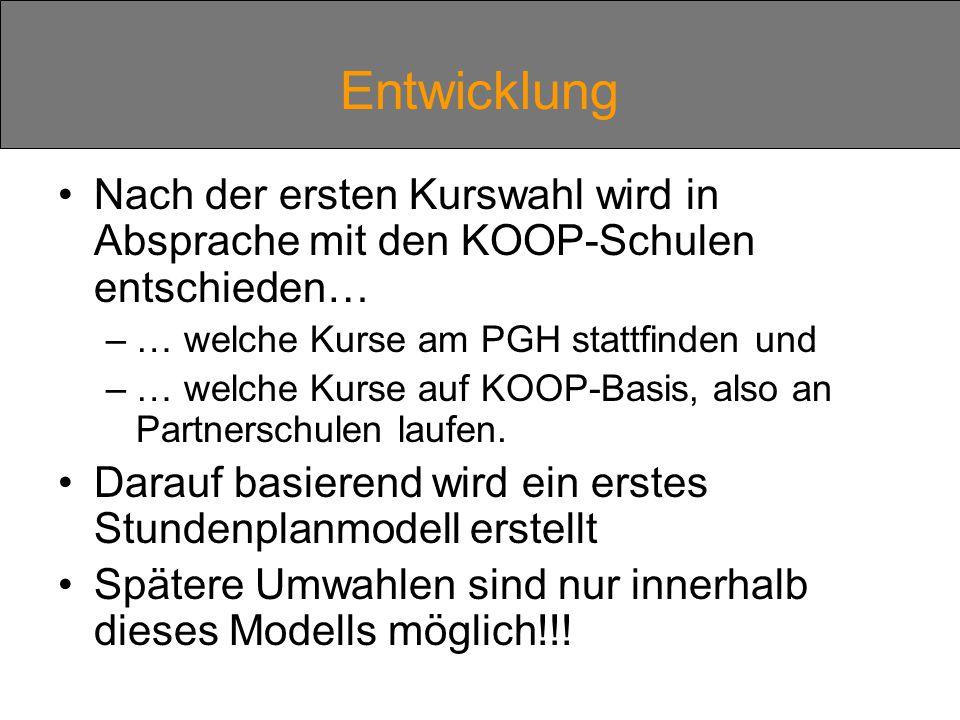 Entwicklung Nach der ersten Kurswahl wird in Absprache mit den KOOP-Schulen entschieden… –… welche Kurse am PGH stattfinden und –… welche Kurse auf KOOP-Basis, also an Partnerschulen laufen.