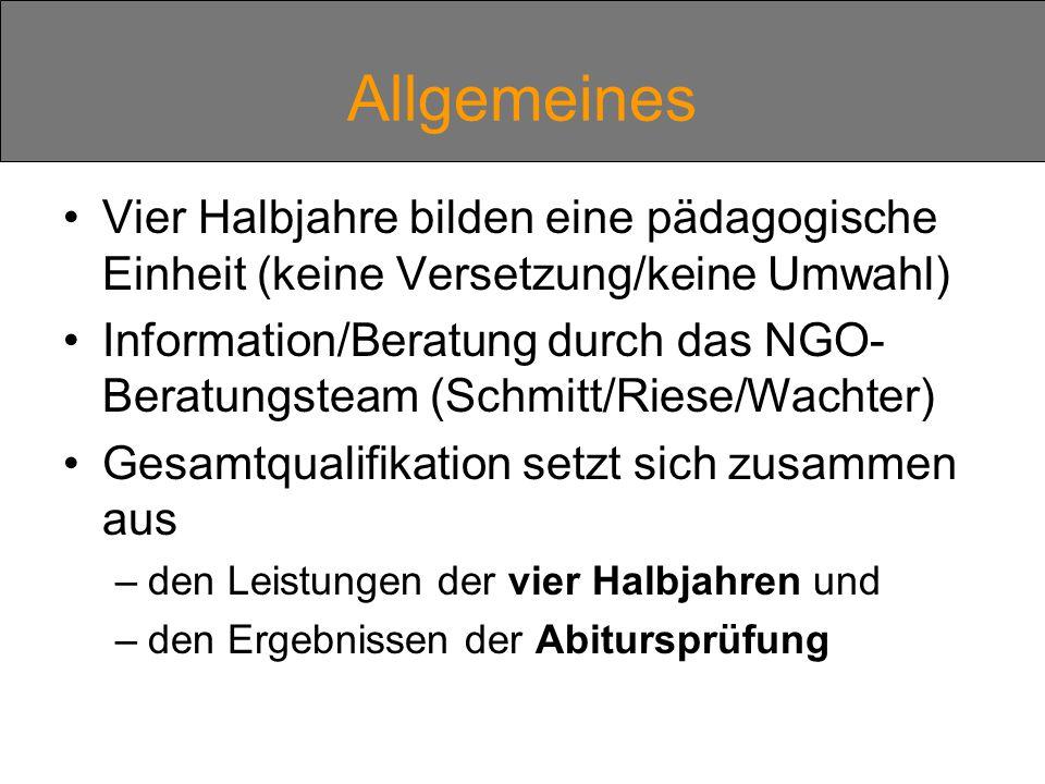 Vier Halbjahre bilden eine pädagogische Einheit (keine Versetzung/keine Umwahl) Information/Beratung durch das NGO- Beratungsteam (Schmitt/Riese/Wachter) Gesamtqualifikation setzt sich zusammen aus –den Leistungen der vier Halbjahren und –den Ergebnissen der Abitursprüfung