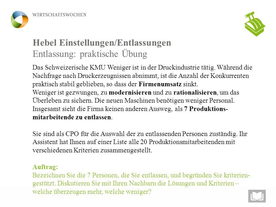 Hebel Einstellungen/Entlassungen Das Schweizerische KMU Weniger ist in der Druckindustrie tätig. Während die Nachfrage nach Druckerzeugnissen abnimmt,