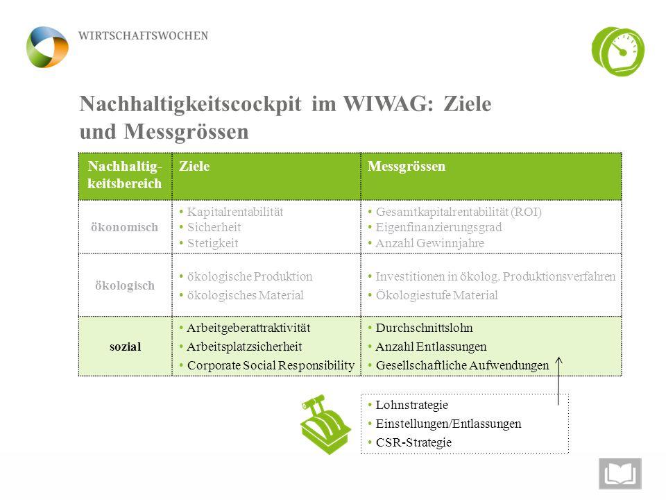5 Nachhaltigkeitscockpit im WIWAG: Ziele und Messgrössen Lohnstrategie Einstellungen/Entlassungen CSR-Strategie Nachhaltig- keitsbereich ZieleMessgrös