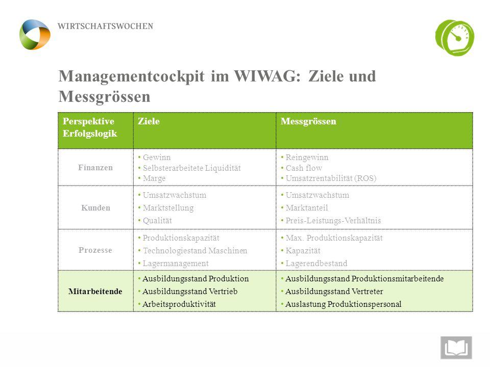 Managementcockpit im WIWAG: Ziele und Messgrössen Perspektive Erfolgslogik ZieleMessgrössen Finanzen Gewinn Selbsterarbeitete Liquidität Marge Reingew