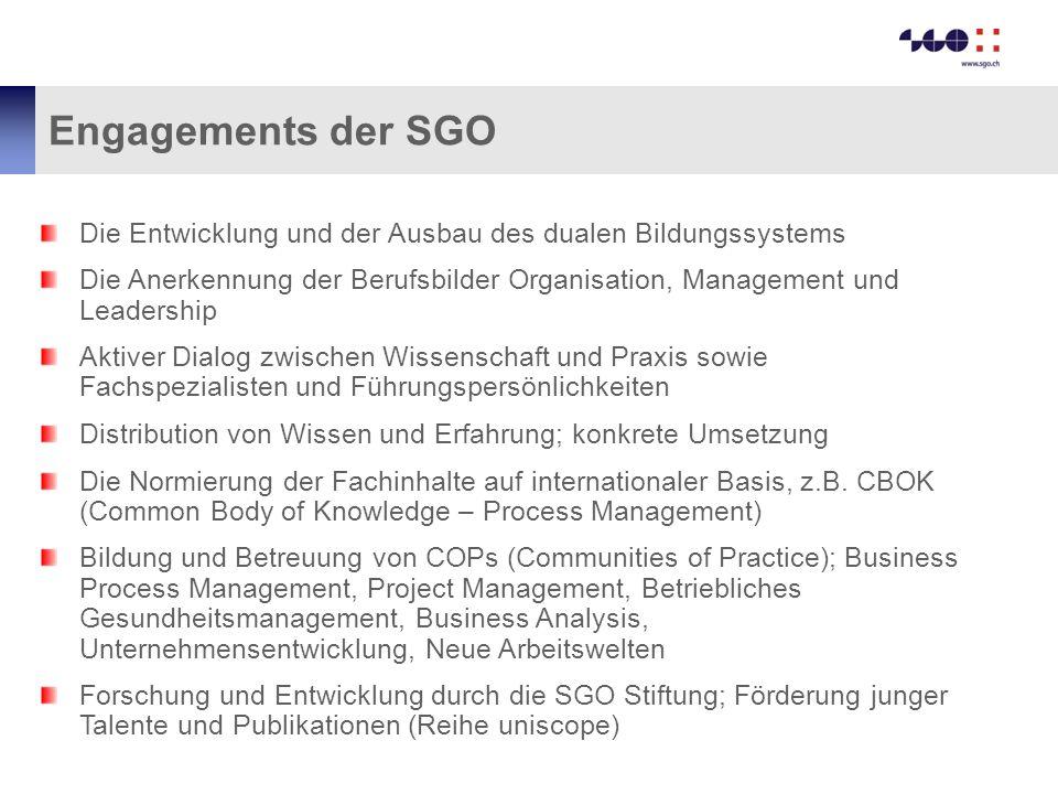 Engagements der SGO Die Entwicklung und der Ausbau des dualen Bildungssystems Die Anerkennung der Berufsbilder Organisation, Management und Leadership