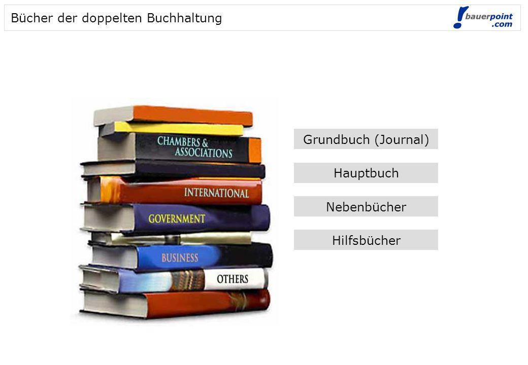 Bücher der doppelten Buchhaltung Grundbuch (Journal) Hauptbuch Nebenbücher Hilfsbücher