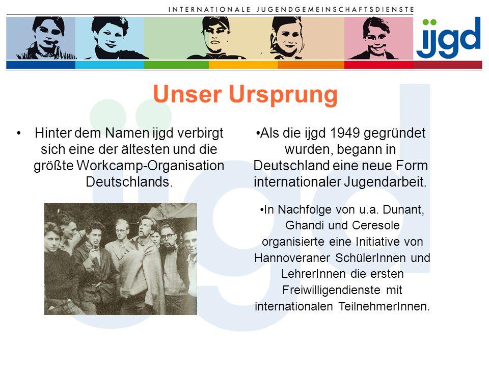 Unser Ursprung Hinter dem Namen ijgd verbirgt sich eine der ältesten und die größte Workcamp-Organisation Deutschlands. Als die ijgd 1949 gegründet wu